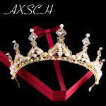 AXSCH tiaras and crowns pearl diadem <b>wedding</b> hair accessories bijouterie crystal <b>jewelry</b> women accessories Baroque high quality