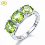 Hutang Wedding Ring 4.2Ct Natural Peridot 925 Sterling <b>Silver</b> 3-stone Classic Style Round Gemstone Fine Fashion Stone <b>Jewelry</b>