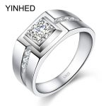 YINHED 100% Solid 925 <b>Sterling</b> <b>Silver</b> Ring 1 Carat Cubic Zircon CZ Engagement Rings For Men Wedding Ring <b>Jewelry</b> ZR307