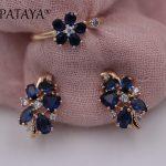 PATAYA New Sunflower Dark Blue Natural Zircon Earrings Up Open Rings Sets 585 Rose Gold Women Wedding Exclusive Design <b>Jewelry</b>