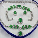 Women's Wedding women's set green stone silver crystl Earring Bracelet Necklace Ring silver mujer moda