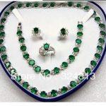 Prett Lovely Women's Wedding New – fashion green zircon necklace bracelet earrings ring <b>jewelry</b> set +box