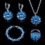 Golobal Shopping Festival Style Sky Blue Zircon 925 Stamp <b>Silver</b> Color Jewelry Sets For Women earrings pendant rings <b>bracelets</b>