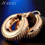 AYAYOO Gold Color Hoop Earrings Large Round <b>Fashion</b> Earrings For Women Bohemian Wedding Circle Bridal <b>Jewelry</b> Earring