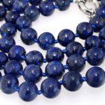 Fashion lapis lazuli round charming gems 8mm beads diy Natural Necklace <b>jewelry</b> <b>making</b> long chain 35 inch BV328