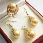 Prett Women's Wedding noble new <b>jewelry</b> golden 12mm shell pearl pendant, earring, , ring set