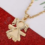 Lovely Cute Girls Pendant Necklaces Gold Color Charms Girl <b>Image</b> Pendant Chain Figure <b>Jewelry</b> Gift
