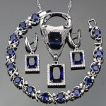 Blue Zircon Costume Jewelry Sets For Women <b>Silver</b> 925 Jewelry Stones Earrings Rings <b>Bracelets</b> Pendant Bridal Necklace Set Gifts