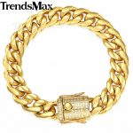 Trendsmax Miami Curb Mens <b>Bracelet</b> Chain 316L Stainless Steel Iced Out Cubic Zirconia CZ Gold <b>Silver</b> Color 12/14mm 9inch KHBM113