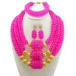 African Beads <b>Jewelry</b> Sets Red Beads Chain Chunky Indian Wedding Necklace Set <b>Handmade</b> Weave Crystal Collar Vintage