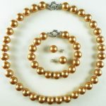 Prett Lovely Women's Wedding shipping>>>>>New AAA+ 12mm champagne luxurious shell pearl bracelet & earring & necklace set