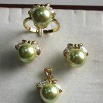 Prett Lovely Women's Wedding fancy <b>jewelry</b> set 10mm green shell pearl,ring, pendant & stud earring