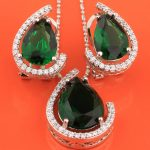 Distinctive Pear Green Stones Hot White 925 Sterling <b>Silver</b> Fashion Jewelry Sets Earrings Pendant For Women S8237