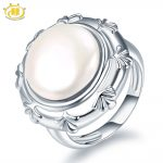 Hutang Pearl <b>Jewelry</b> 100% Natural Freshwater Pearl Ring 925 Sterling <b>Silver</b> Coin-Shape Pearls Fine Fashion <b>Jewelry</b> Xmas Gift