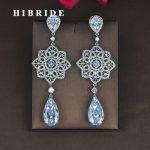 HIBRIDE Luxury Clear Water Drop Cubic Zircon Earring For Women Brincos <b>Jewelry</b> <b>Wedding</b> Pendientes Mujer Moda Wholesale E-829