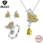 BISAER Authentic 925 Sterling <b>Silver</b> Yellow CZ Dancing Flying Butterfly Dream Luxury Jewelry Set for Women <b>Silver</b> Fine Jewelry