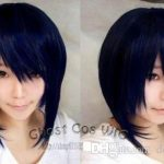 Free shipping New High Quality <b>Fashion</b> Picture wig >Dark blue mixed black anime role-playing wig cosplay blue-black short wig
