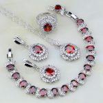 Trendy 925 <b>Silver</b> Jewelry Red Garnet Zircon White Crystal Jewelry Sets For Women Wedding Earrings/Pendant/Necklace/<b>Bracelet</b>