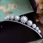 The Sunflower Full Zircon Tiara Bride Micro Pave CZ Crown Headband <b>Wedding</b> Hair Accessories Diadem <b>Jewelry</b> Tiaras Coroa WIGO0954