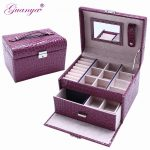 Guanya brand Leather <b>Jewelry</b> Box makeup Storage case <b>Handmade</b> Multi Layer <b>Jewelry</b> Sorting Box with Handle lady Birthday Gift