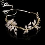 Gold Leaf Headband Pearl Tiara Leaves <b>Wedding</b> Hair Accessories Bridal Hair <b>Jewelry</b> alloy rhinestone Fashion Frontlet