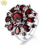 Hutang 7.54 ct Natural Gemstone Black Garnet Wedding Ring Solid 925 Sterling <b>Silver</b> Flower Shape Fine <b>Jewelry</b> For Women Gift New