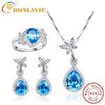 Heart of Ocean Blue Topaz Water Drop 925 Sterling <b>Silver</b> Quality Set <b>Earrings</b>/Necklace/Engagement Rings Jewelry Set For Women