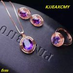 KJJEAXCMY Fine jewelry, 925 Sterling <b>Silver</b> Inlay Purple Crystal Ring Pendant female models set of 3