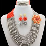 <b>Silver</b> Beads Embroidered Red Classic Nigerian Wedding African Beads Classic Crystal Jewelry Sets 2016 New Arrived