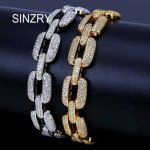 SINZRY AAA Zircon Cuban Miami Chain <b>Bracelet</b> Jewelry Gold <b>Silver</b> Color Bling CZ Men's Hip hop charm <b>Bracelets</b>