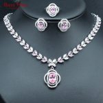 Silver Color Bridal Women <b>Jewelry</b> Set Pink White Cubic Zirconia Wedding <b>Necklace</b> Earrings Rings Set USA Size 6/7/8/9