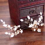 Newset Desgin Gold Flower Leaf Wedding Hair Accessories Bridal Hair Comb <b>Handmade</b> Pearl Crystal Bride Hair Clip Hairpins <b>Jewelry</b>