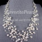 Pearl Necklace Bridesmaid <b>Wedding</b> <b>Jewelry</b> Multistrand Necklace Floating Illusion Genuine Pearl <b>Jewelry</b> 15 Strand 18-22.5inches