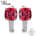JewelryPalace Cushion 4.6ct Red Created Rubies Clip On Earrings 925 Sterling Silver <b>Jewelry</b> For Women Romantic Fine <b>Wedding</b> Gift