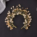 Fashion Exaggerated Crystal <b>Jewelry</b> Light Gold Color Bridal Tiara Baroque Crown Hair Hoop <b>Wedding</b> Accessories Bride Headwear