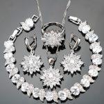 White Zirconia Silver 925 Bridal <b>Jewelry</b> Sets Stone Earrings Women Wedding Ladies Bracelet Necklace Ring Set Jewelery Gift Box