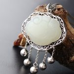 <b>Silver</b> <b>Jewelry</b> Wholesale Inlay Natural Hetian Jade Retro Thai <b>Silver</b> Pendant Vintage S925 <b>Sterling</b> <b>Silver</b> Tassel <b>Silver</b> Lock