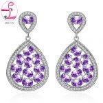 ZHE FAN Women Piercing Dangle Earrings AAA CZ Cubic Zirconia Micro Pave Water Drop Earring <b>Jewelry</b> Purple Green Royal Blue