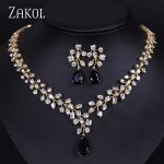 ZAKOL Unique Plant Branch Gold-color <b>Jewelry</b> AAA Cubic Zirconia Flower <b>Jewelry</b> Sets For Bridal Engagement FSSP072