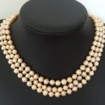Charming 3 rows natural freshwater trendy light orange pearl 7-8mm round beads woman necklace <b>jewelry</b> <b>making</b> 18 inch BV381