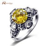 Personalized Women Men <b>Native</b> <b>American</b> Yellow CZ Female Wedding Finger Flower Rings 925 Sterling Silver <b>Jewelry</b> Teacher Gift