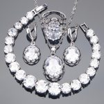 White Zirconia Bridal Jewelry Sets Earrings For Women <b>Silver</b> 925 Jewelry With Ring Pendant Necklace <b>Bracelet</b> Set Gift Box