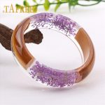 TAFREE Charm Wood Resin Bangle Bracelet With Purple Real Dried Flower Cuff Love Bracelet For Women Indian <b>Jewelry</b> Handmade RF24