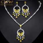 CWWZircons Noble Yellow Cubic Zirconia Stone Tassel Drop Big <b>Necklace</b> And Earring High Quality Women Prom Party <b>Jewelry</b> Set T026