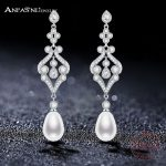 ANFASNI 925 Sterling Silver Noble Crystal Simulated Pearl Bridal Long Earrings Silver Color Boucle D'oreille <b>Wedding</b> <b>Jewelry</b>