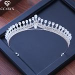 CC tiaras and crowns water drop cz stone engagement <b>wedding</b> hair accessories for bride princess party fine <b>jewelry</b> elegant XY219