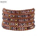 KELITCH <b>Jewelry</b> Good Quality Natural AB Crystal Beaded <b>Handmade</b> String Brown Genuine Leather 5 Wrap Friendship Bracelet