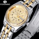FORSINING Luxury Brand Ladies Watch <b>Silver</b> Gold Steel Band Quartz Waeches Gold Case Wristwatches Luminous Point Display Clock