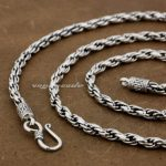 4mm 925 Sterling <b>Silver</b> Woven Double Link Chain Mens Biker <b>Necklace</b> 8L011 Free Shipping