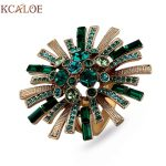 KCALOE Large Flowers Engagement Ring Luxury Green Austrian Crystal Cubic Zirconia Brand <b>Jewelry</b> Big Titanium Rings For Women